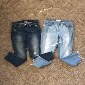 2 pair jeans, Levi + Gap, size 14